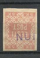 ESTLAND ESTONIA 1918 Provisional Line Cancel NUIA On Michel 2 - Estland