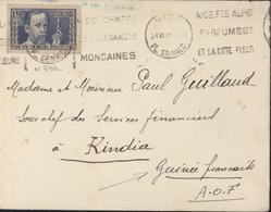 YT 333 Pasteur 1.5 Seul Sur Lettre Pour La Guinée Kindia AOF CAD Nice 24 VI 38 Flamme Nice Alpes Parfumées Cote Fleurie - Storia Postale