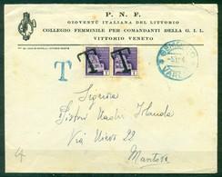Z1248 ITALIA RSI 1944 Lettera Spedita Senza Affrancatura Da Gemonio 5.12.44 Per Mantova E Tassata In Arrivo Con Monument - Storia Postale