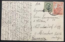50 Cent Anniversario Vittoria + 25 Cent Floreale Su Cartolina Da Palermo Porto 3/11/1928 Per Germania (Monaco) - 1900-44 Vittorio Emanuele III