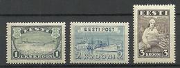 Estland Estonia 1935-1940 So Called Kroon-currency Stamps (1,2,3 Kroon) * - Estonia