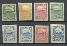 ESTLAND ESTONIA 1919/24 Tallinn Skyline Etc Stamps On Pelure Paper Zigarettenpapier * - Estland