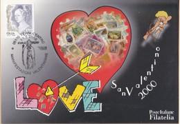 ITALIA REP. - 2000 - POSTE ITALIANE FILATELIA CARTOLINA  LOVE SAN VALENTINO 2000.ANNULLO TERNI CENTRO 11/02/2000. - 6. 1946-.. Repubblica