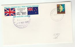 1971 COVER Auckland NEW ZEALAND Stamps GB POSTAL STRIKE COURIER MAiL Decimal LABEL Great Britain - New Zealand