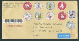 Japan, Japon, Giappone 2018; Registered Cover To Italy With 7 Moomins + Chèvre - Storia Postale