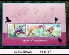 INDIA - 2017 VALNERABLE BIRDS / BIRD - Miniature Sheet MINT NH - Ohne Zuordnung