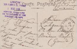 """Cachet """"Union Des Femmes De France - Hôpital Auxiliaire Du Territoire N° 126 - Surgères"""" Sur CPA Surgères - Marcophilie (Lettres)"""