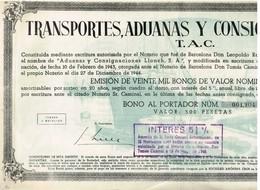 Titre Ancien - Transportes, Adunas Y Consignaciones, S.A. - Titulo De 1944 - - Industrie