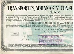 Titre Ancien - Transportes, Aduanas Y Consignaciones, S.A. - Titulo De 1944 - - Industrie