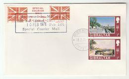 1971 COVER GIBRALTAR Stamps GB POSTAL STRIKE COURIER MAiL LABEL Great Britain - Gibraltar