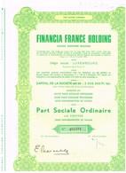 Titre Ancien - Financia France Holding Société Anonyme - Titre De 1970 - - Banque & Assurance
