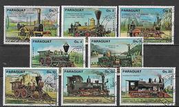 PARAGUAY 1976 PRIMA LINEA FERROVIARIA YVERT. 1467-1471+POSTA AEREA 720-722 USATA VF - Paraguay