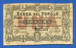 Italia Raro 1 Lira 1868 Banca Del Popolo In Firenze Biglietto Fiduciario Monetazione D'Emergenza QBB - [ 1] …-1946 : Kingdom