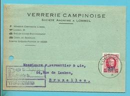 247op Kaart Stempel LOMMEL, Firmaperforatie (perfin) V.C. Van VERRERIE CAMPINOISE - 1922-1927 Houyoux
