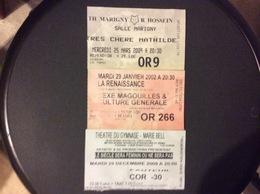 3 TICKETS D'ENTREE THEATRES *Gymnase-Marie Bell *Marigny R.Hossein *La Remaissance - Tickets - Entradas