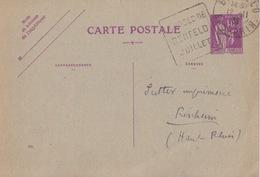 Entier 40c Paix Lilas (526) Obl. Flamme Courses Benfeld (T209 Benfeld Bas-Rhin) Le 12/11/35 Pour Rixheim - Storia Postale