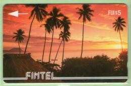 Fiji - Fintel - 1992 First Issue - $5 Palms & Sunset - FIJ-FI-1 - VFU - Fiji