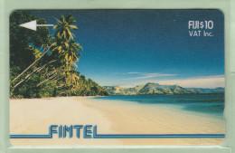 Fiji - Fintel - 1993 Second Issue - $10 Palms & Beach - FIJ-FI-4b - VFU - Fidschi