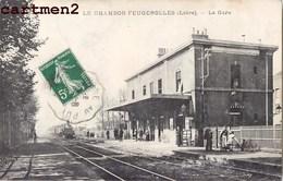 LE CHAMBON-FEUGEROLLES LA GARE TRAIN LOCOMOTIVE STATION BAHNHOF 42 LOIRE - Le Chambon Feugerolles