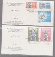OLYMPICS - MEXICO - 1965 -MEXICO OLYMPICS SET OF 5 ON  2 ILLUSTRTED FDCS - Summer 1968: Mexico City