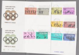 OLYMPICS - MEXICO - 1968 -MEXICO OLYMPICS 4TH SERIES SET OF 10 ON 5  ILLUSTRTED FDCS - Summer 1968: Mexico City