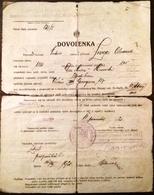 """AD175 Urlaubsschein Bataillon Infantrie-Regiment 39 """"Vyzvedny"""", Bratislava 1920 - Historische Dokumente"""