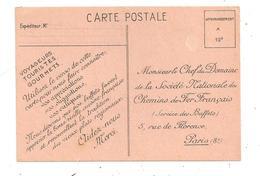 Carte Pour Faire Connaître Vos Appréciations- Chemin De Fer Français (C.9948) - Chemins De Fer