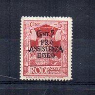 Occupazione Tedesca Del Dodecanneso - 1943 - Rodi - Sovrastampati Pro Assistenza Egeo - 5 Centesimi - Nuovo - (FDC14480) - Dodecaneso