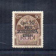 Occupazione Tedesca Del Dodecanneso -1943 - Rodi - Sovrastampati Pro Assistenza Egeo - 50 Centesimi - Nuovo - (FDC14482) - Dodecaneso