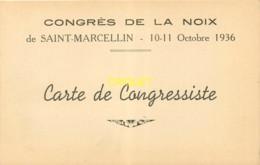 38 St Marcellin, Format Cpa, Carton D'invitation Congrès De La Noix, Octobre 1936 - Saint-Marcellin