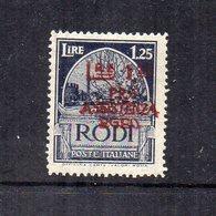 Occupazione Tedesca Del Dodecanneso -1943 - Rodi - Sovrastampati Pro Assistenza Egeo - 1,25 Lire - Nuovo - (FDC14483) - Dodecaneso