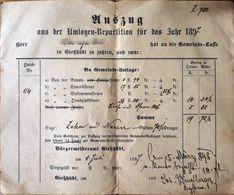AD190 Alter Auszug Der Umlagen-Repartition, Gießhübl 1898, In Gulden-Währung - Historische Dokumente