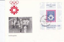 Yugoslavia FDC 1984 Sarajevo Olympic Games Souvenir Sheet  (B567) - Winter 1984: Sarajevo
