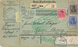 Paketkarte Nach Davos Schatzalp Sanatorium Mann Zauberberg Von Bast Dt. Kartierungsstelle Basel 1915 - Germany