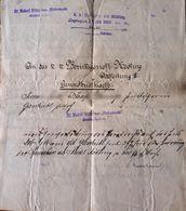 AD196 Handschriftliches Notariatsschreiben Mödling - Gießhübl 1899 - Historische Dokumente