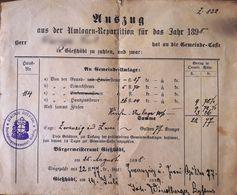 AD205 Alte Auszug Der Umlagen-Repartition, Gießhübl 1898, In Gulden-Währung - Historische Dokumente