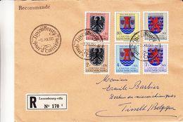 Luxembourg - Lettre Recom De 1956 - Oblit Luxembourg - Armoiries - Caritas  - Valeur 24 Euros - Lettres & Documents