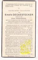 DP Emelie DeCaesteeker ° Langemark 1855 † Wijtschate Heuvelland 1936 X Henri Fockenier - Images Religieuses