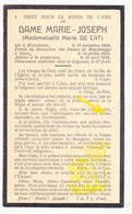 DP EZ Marie De Cat - Zr. M. Joseph ° Wijtschate Heuvelland 1868 † Klooster Dames Roesbrugge Ieper 1945 - Images Religieuses