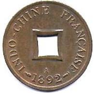 INDO CHINE - Sapèque 1892 A - Colonie