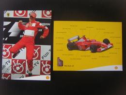 Lot De 2 Cartes Publiciataires Shell - Automobilisme - Ferrari - F1 - Michaël SCHUMACHER ( Autographe Préimprimé ) - Grand Prix / F1