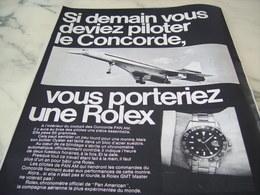 ANCIENNE PUBLICITE  MONTRE ROLEX  ET CONCORDE 1969 - Autres