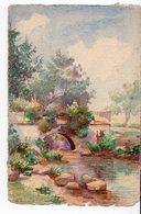 AQUARELLE    PAYSAGE PONT  REALISEE SUR CARTE POSTALE  ANCIENNE  NON SIGNEE - Peintures & Tableaux