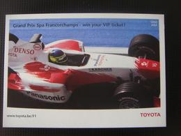 Carte Publicitaire TOYOTA Pour Le Grand Prix De Spa Francorchamps - Grand Prix / F1