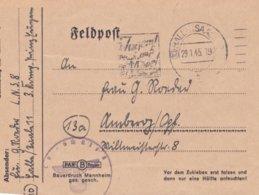 Late German Feldpost WW2: Luftnachrichtenschule 8 P/m Halle (Saale) 29.1.1945 - Letter Inside  (B562) - Militaria