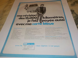 ANCIENNE PUBLICITE CARTE BLEUE 1969 - Publicité