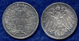 Deutsches Reich 1 Mark 1905G Großer Reichsadler Ag900 - [ 2] 1871-1918: Deutsches Kaiserreich
