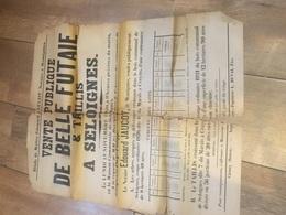 SELOIGNES 1920 Vente De Futaie Et Taillis - Entière Mais Abîmée - Affiches