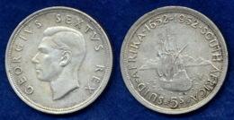 Südafrika 5 Sh. 1952 George VI. Ag500 28,2g - Afrique Du Sud
