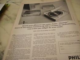 ANCIENNE  PUBLICITE NOTRE CHAINE DIAMANT PHILIPS 1969 - Tabac (objets Liés)